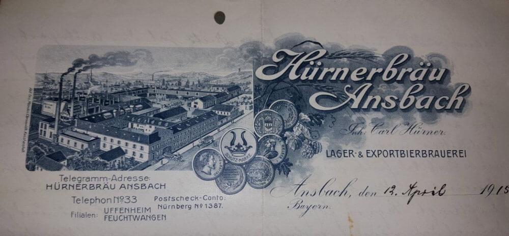 Telegramm an Hürner-Bräu Ansbach von 1915