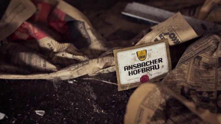 Etikett einer alten Bierflasche