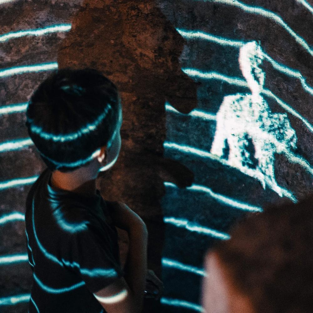 """Junge vor der Installation """"Eurydice"""". Foto: David Ferstl"""