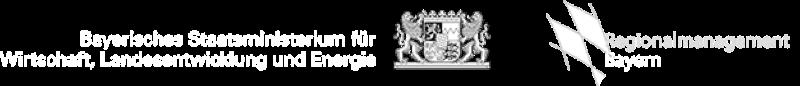 Links das Logo des Bayerischen Staatsministerium für Wirtschaft, Landesentwicklung und Energie. Recht das Logo: Regionalmanagment Bayern