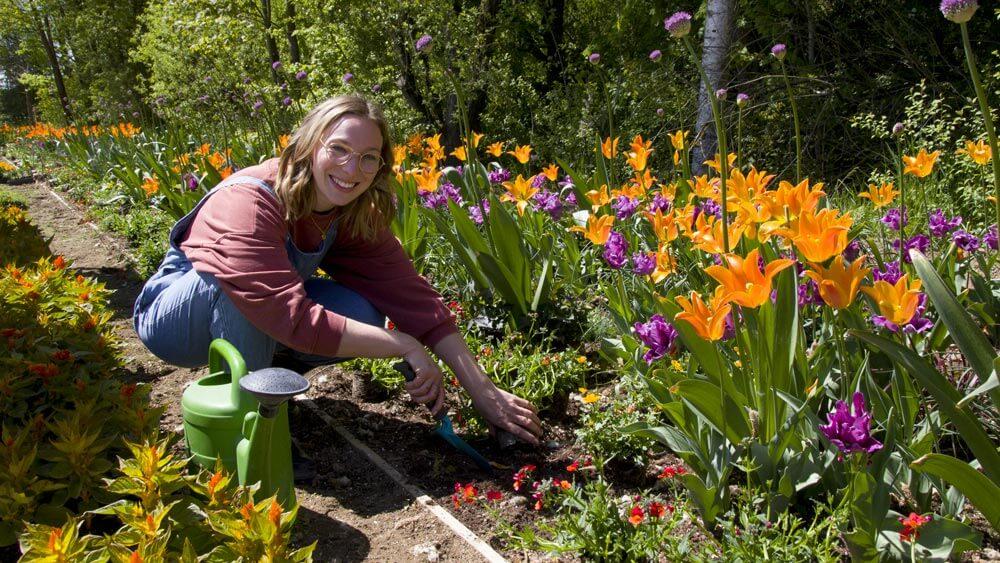 Luisa Filip, FrankenSein Redakteurin, arbeitet am Blumenbeet