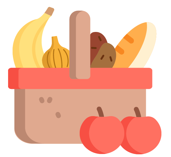 Gefüllter Korb mit Lebensmitteln