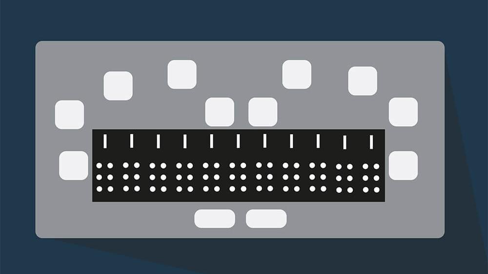 Eine gezeichnete Braillezeile