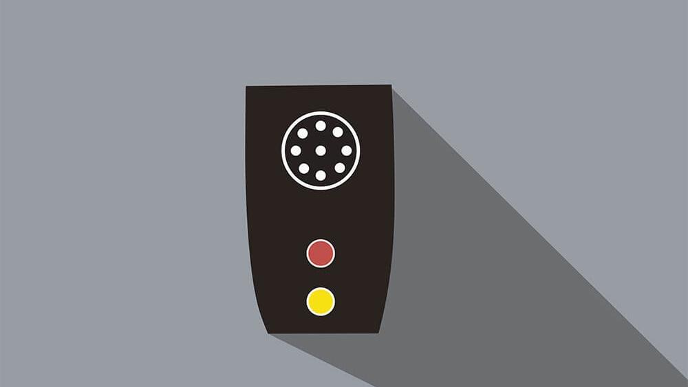 Ein Farberkennungsgerät: Am Gerät befindet sich oben ein Lautsprecher, darunter zwei Knöpfe zum betätigen