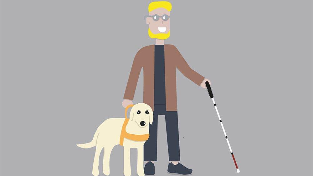 Zeichnung einer blinden Person mit Blindenstock und Blindenführhund